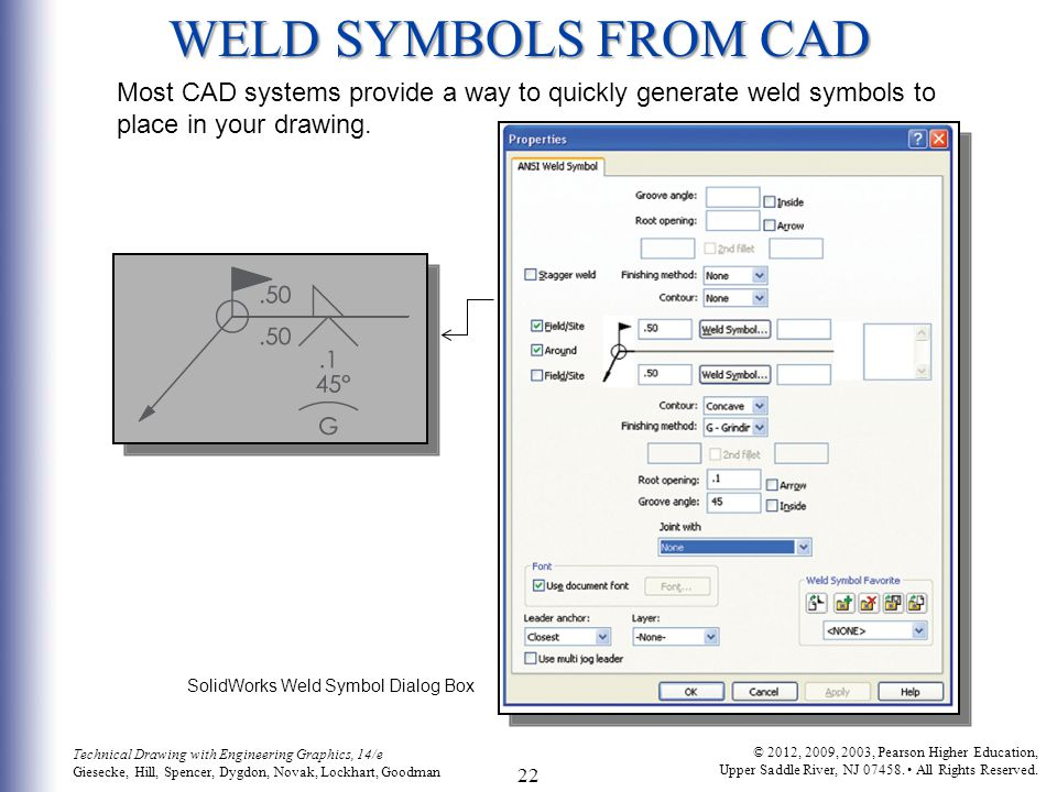 WELD SYMBOLS FROM CAD Most CAD systems provide a way to quickly generate weld symbols to place in your drawing.