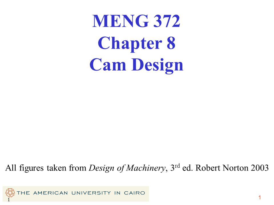 MENG 372 Chapter 8 Cam Design