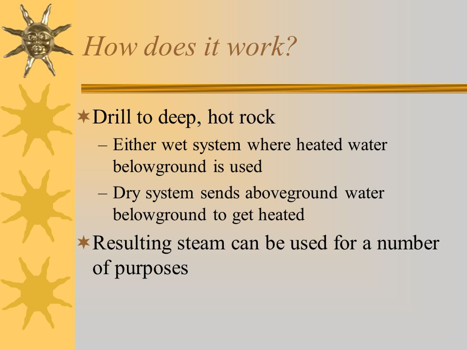 How does it work Drill to deep, hot rock