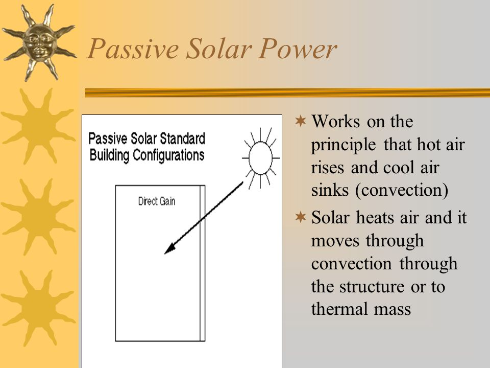 Passive Solar Power Works on the principle that hot air rises and cool air sinks (convection)
