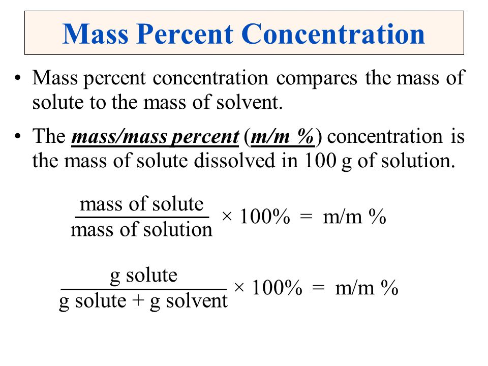 Mass Percent Concentration