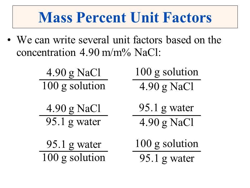 Mass Percent Unit Factors
