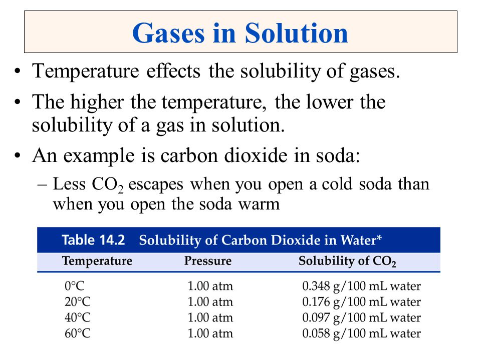 Gases in Solution Temperature effects the solubility of gases.
