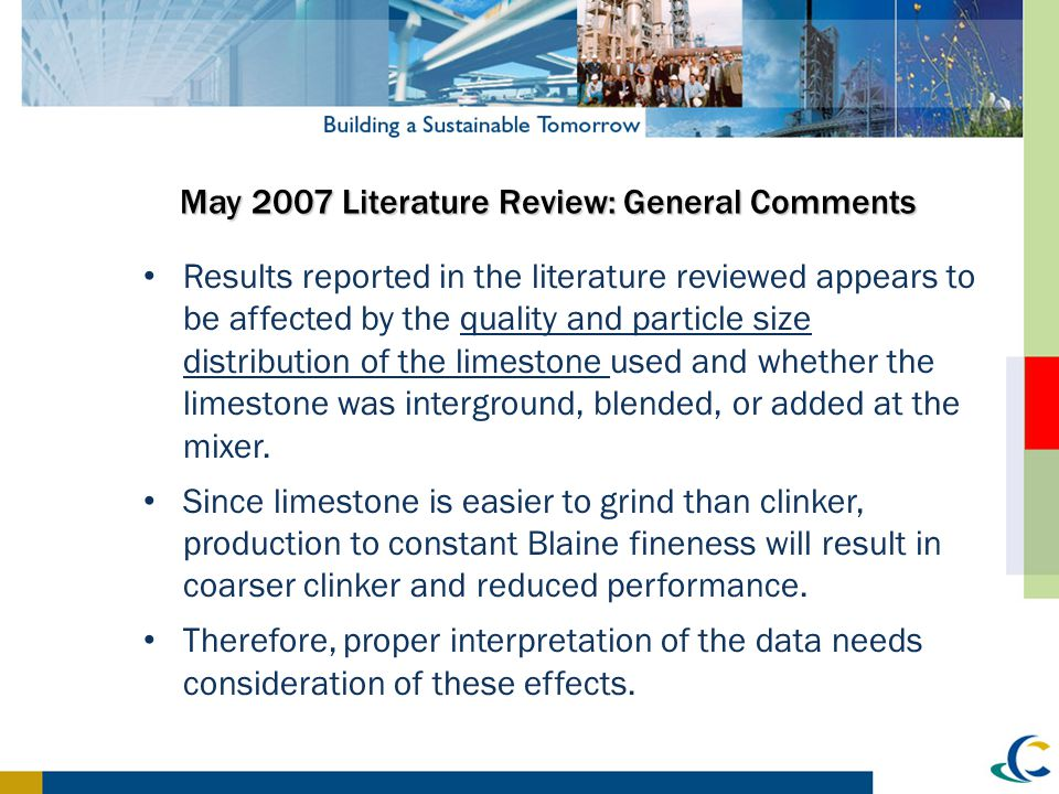 May 2007 Literature Review: General Comments