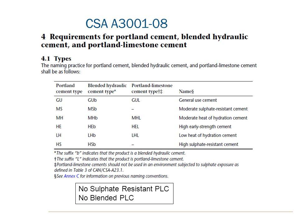 CSA A3001-08 No Sulphate Resistant PLC No Blended PLC