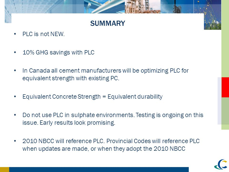 SUMMARY PLC is not NEW. 10% GHG savings with PLC