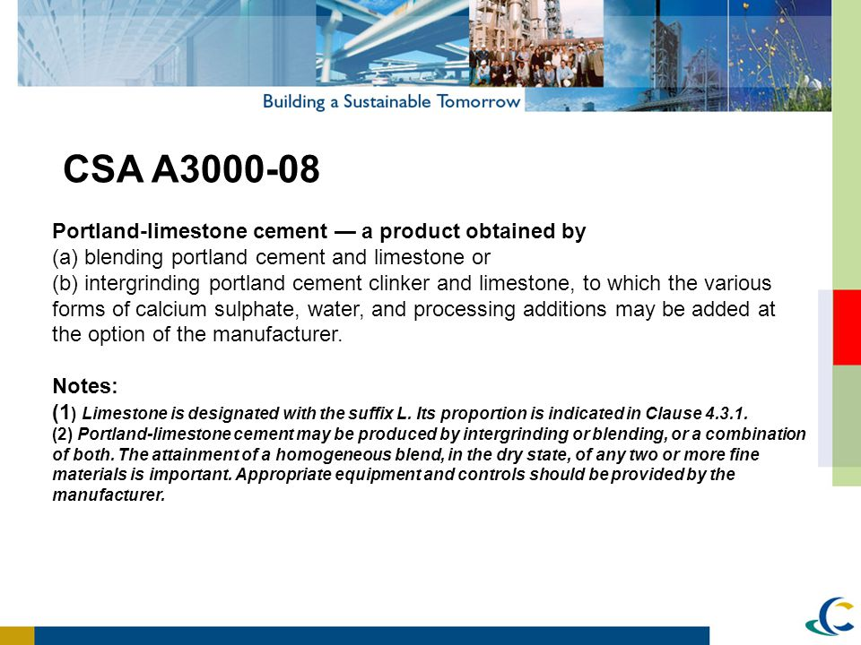 CSA A3000-08 Portland-limestone cement — a product obtained by