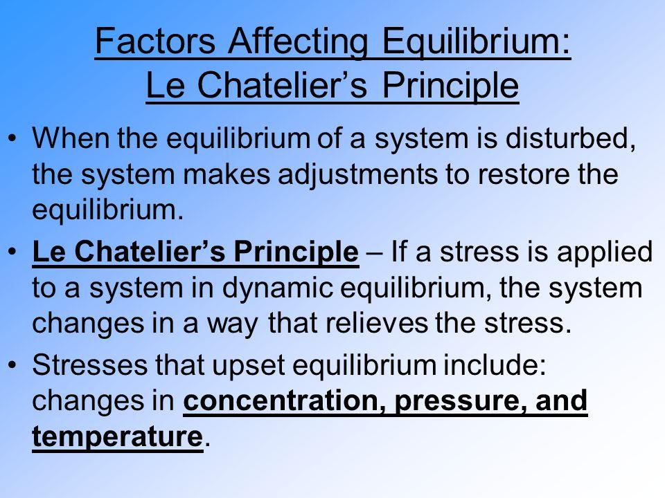 Factors Affecting Equilibrium: Le Chatelier's Principle