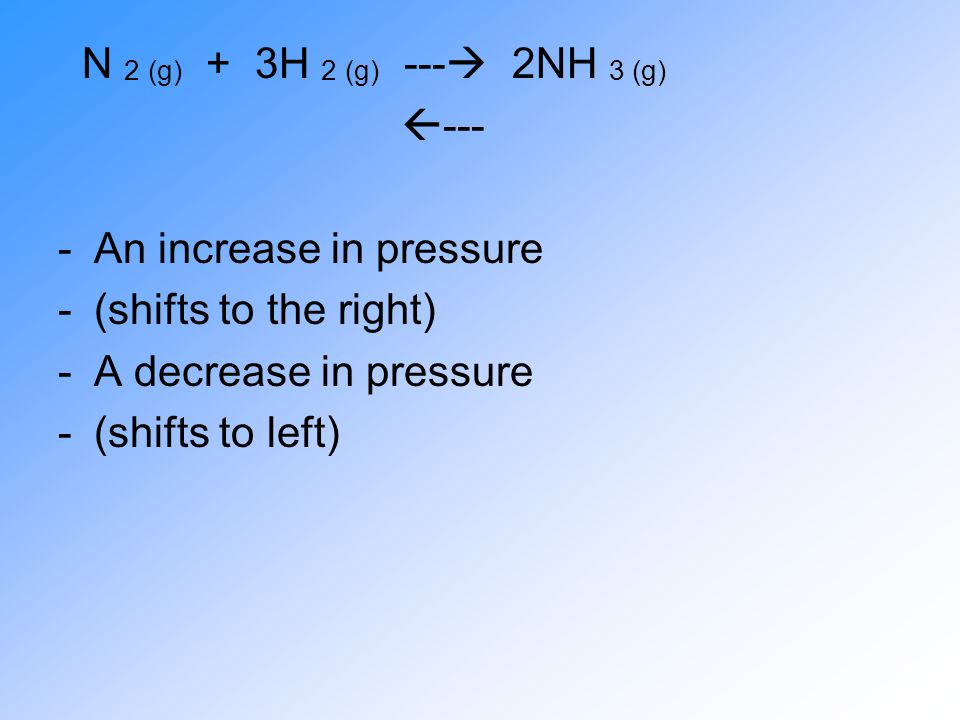 N 2 (g) + 3H 2 (g) --- 2NH 3 (g) --- An increase in pressure. (shifts to the right) A decrease in pressure.