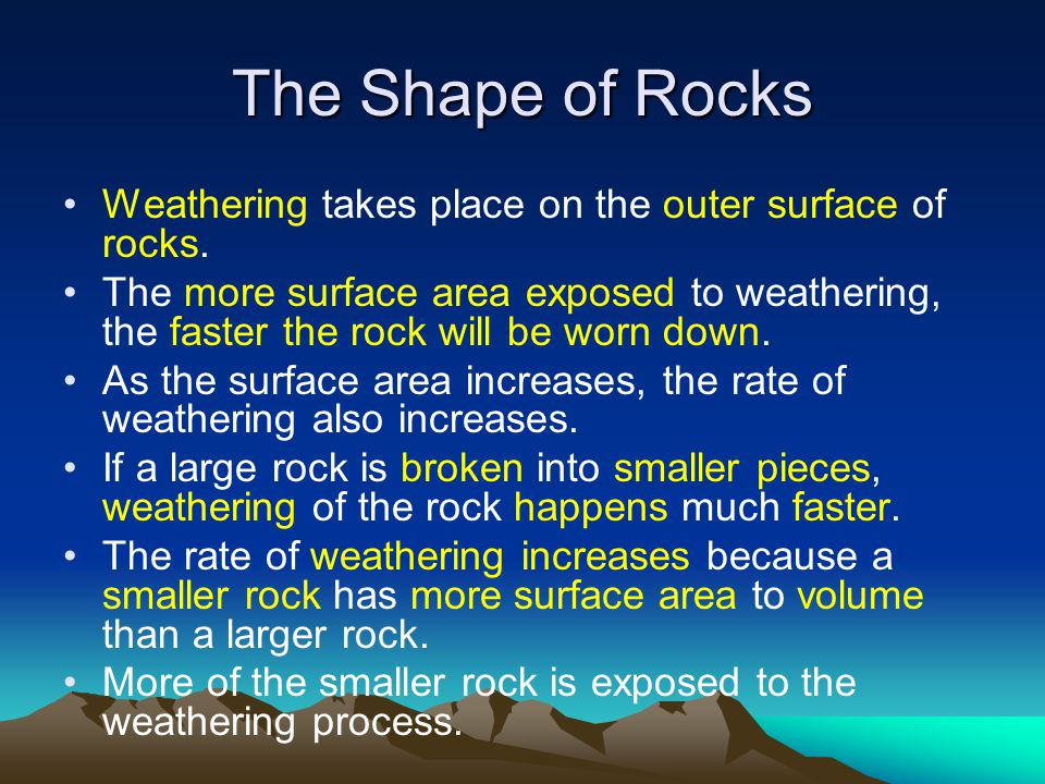 The Shape of Rocks Weathering takes place on the outer surface of rocks.