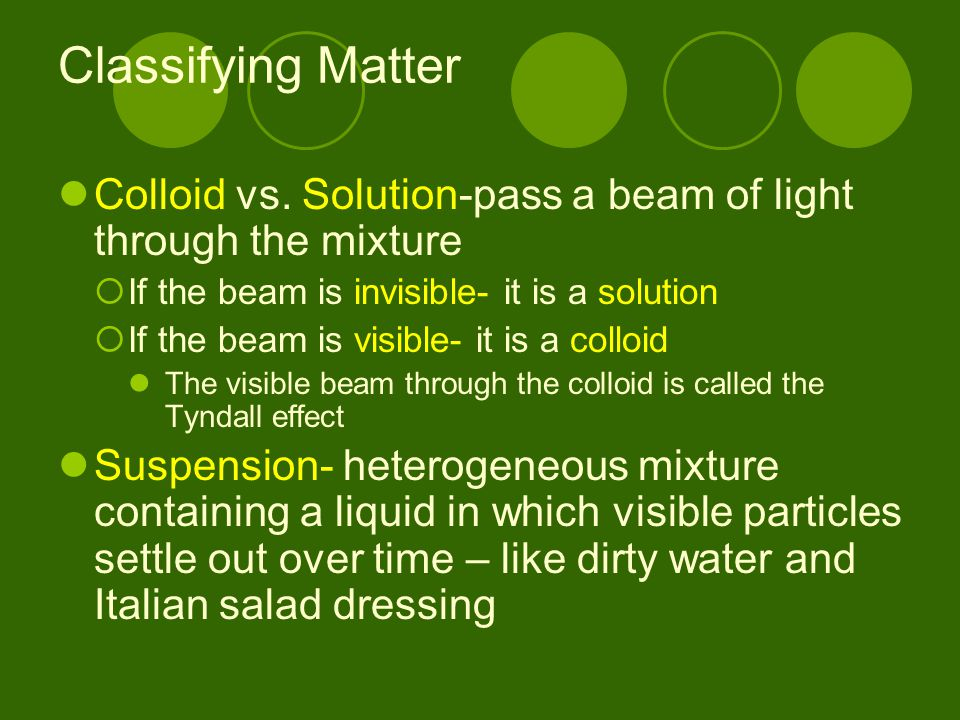 Classifying Matter Colloid vs. Solution-pass a beam of light through the mixture. If the beam is invisible- it is a solution.