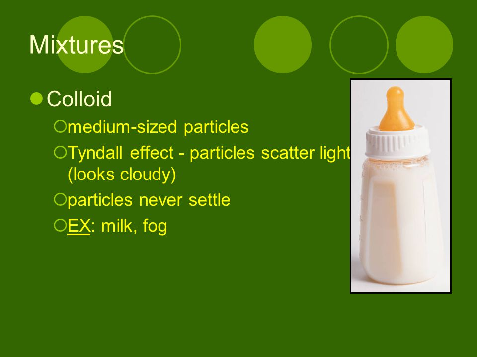 Mixtures Colloid medium-sized particles