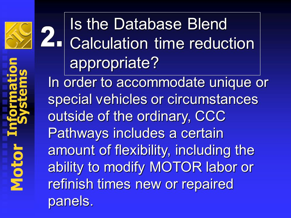 Is the Database Blend Calculation time reduction appropriate