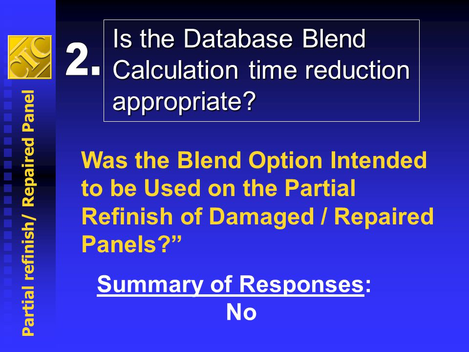 Partial refinish/ Repaired Panel Summary of Responses: No