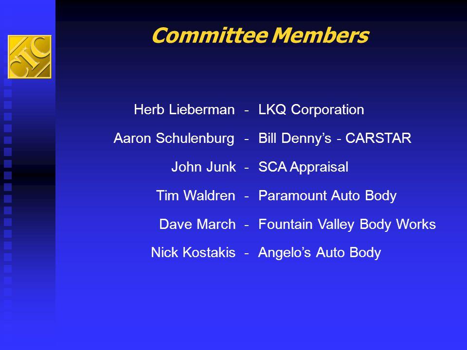 Committee Members Herb Lieberman - LKQ Corporation Aaron Schulenburg -