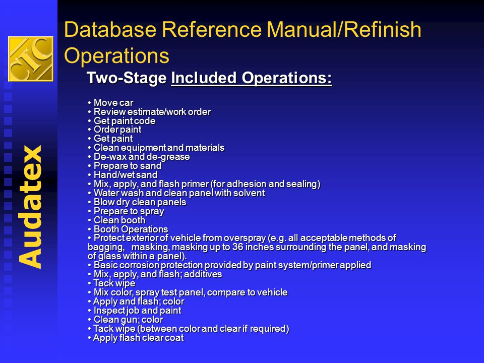 Database Reference Manual/Refinish Operations