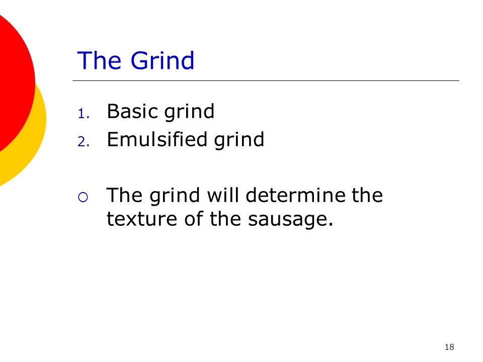The Grind Basic grind Emulsified grind