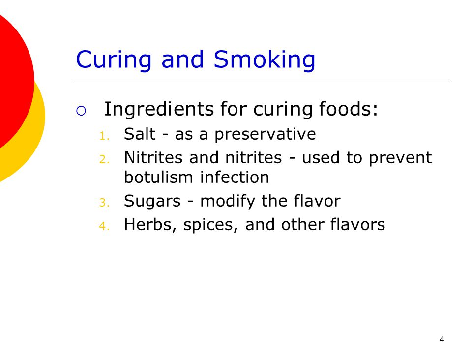 Curing and Smoking Ingredients for curing foods: