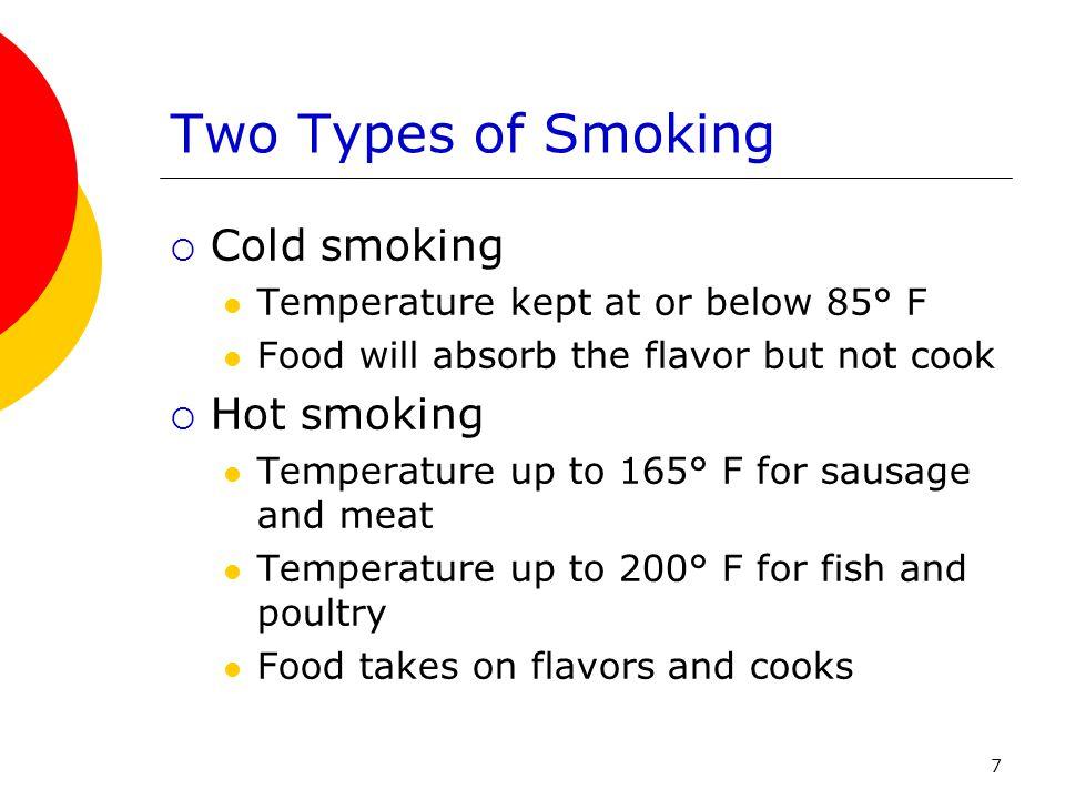 Two Types of Smoking Cold smoking Hot smoking