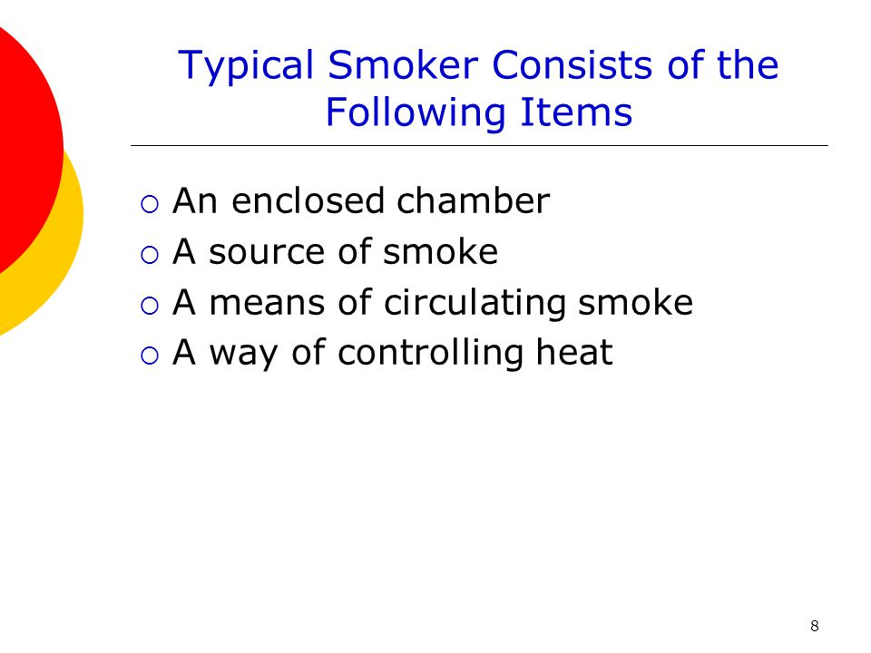 Typical Smoker Consists of the Following Items