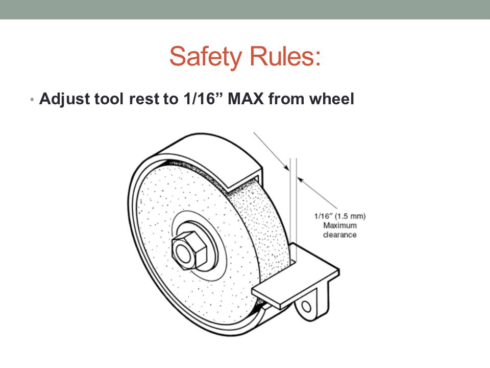 Safety Rules: Adjust tool rest to 1/16 MAX from wheel
