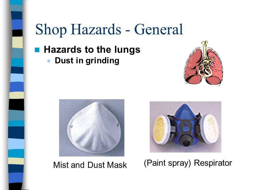 Shop Hazards - General Hazards to the lungs Dust in grinding