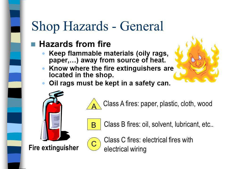 Shop Hazards - General Hazards from fire