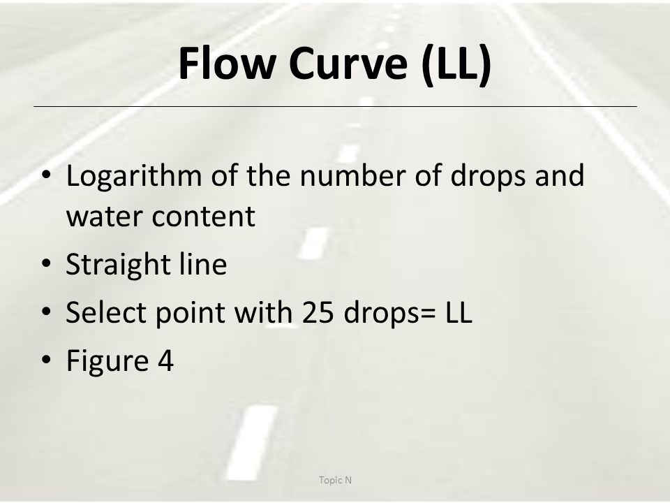 Flow Curve (LL) Logarithm of the number of drops and water content