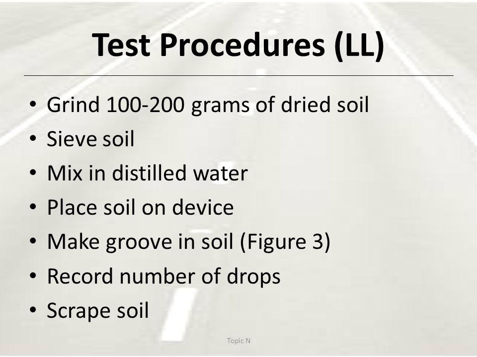 Test Procedures (LL) Grind 100-200 grams of dried soil Sieve soil