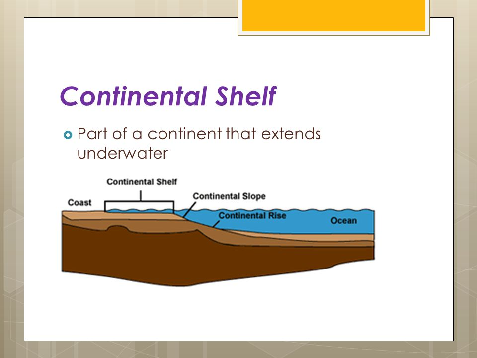 Continental Shelf Part of a continent that extends underwater