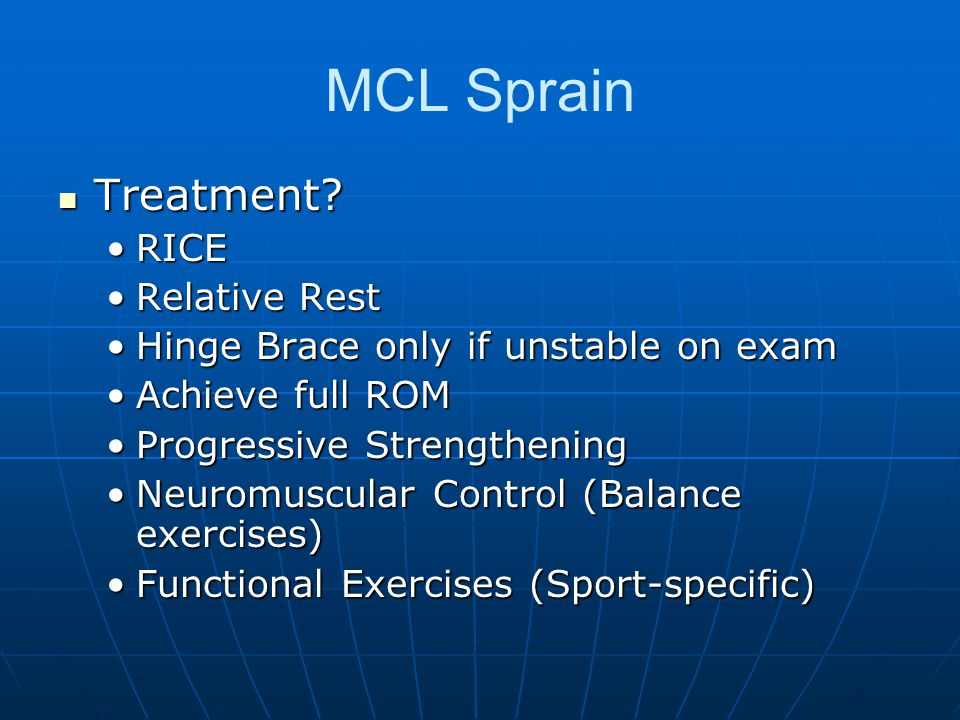 MCL Sprain Treatment RICE Relative Rest