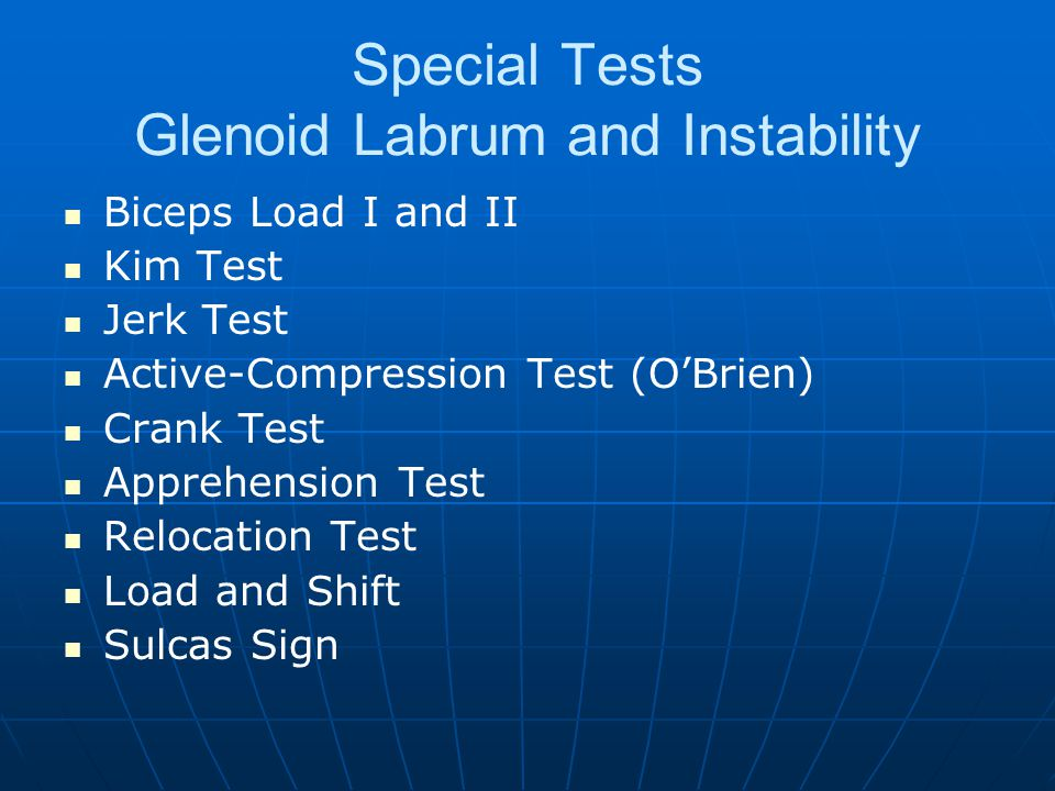 Special Tests Glenoid Labrum and Instability