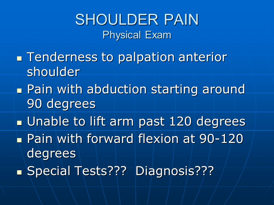 SHOULDER PAIN Physical Exam