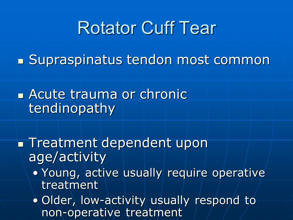 Rotator Cuff Tear Supraspinatus tendon most common