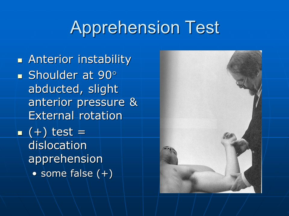 Apprehension Test Anterior instability
