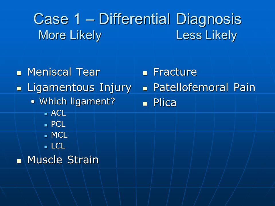 Case 1 – Differential Diagnosis More Likely Less Likely