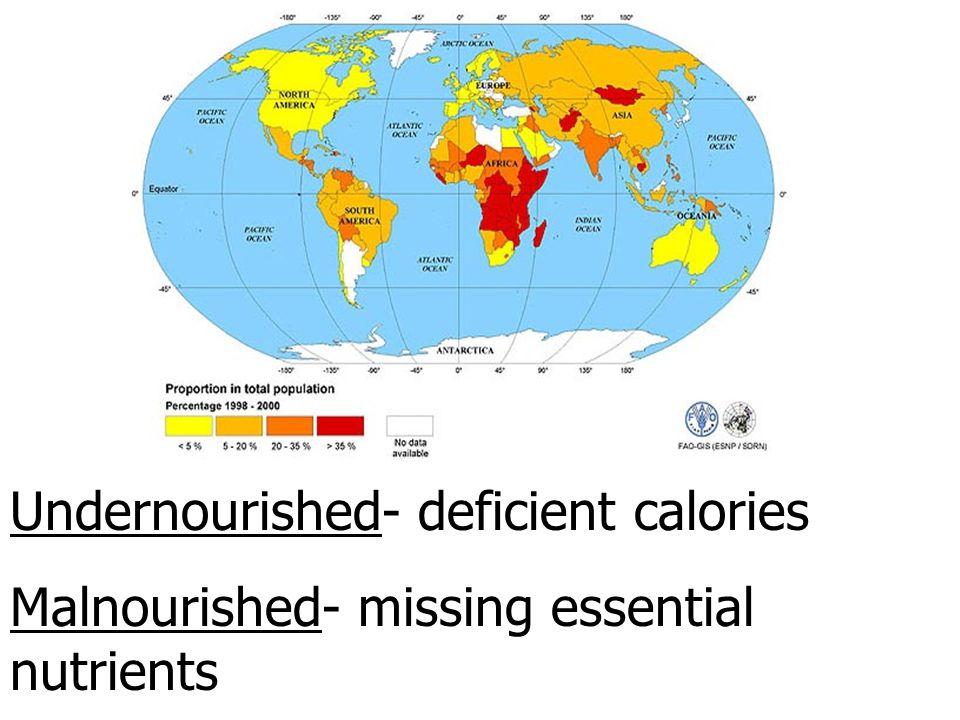 Undernourished- deficient calories
