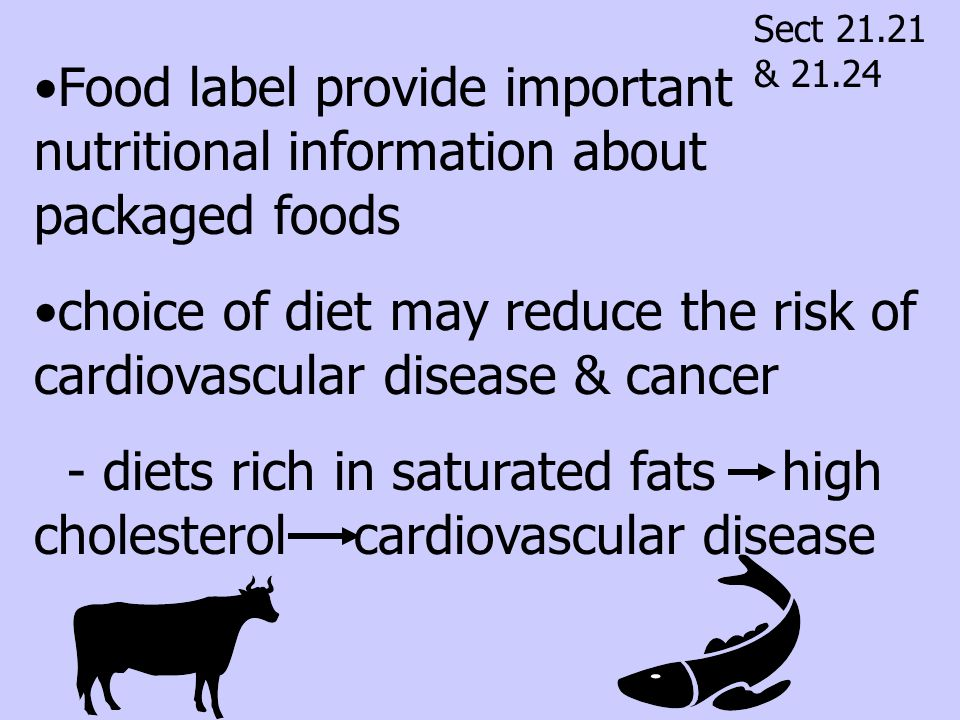 choice of diet may reduce the risk of cardiovascular disease & cancer