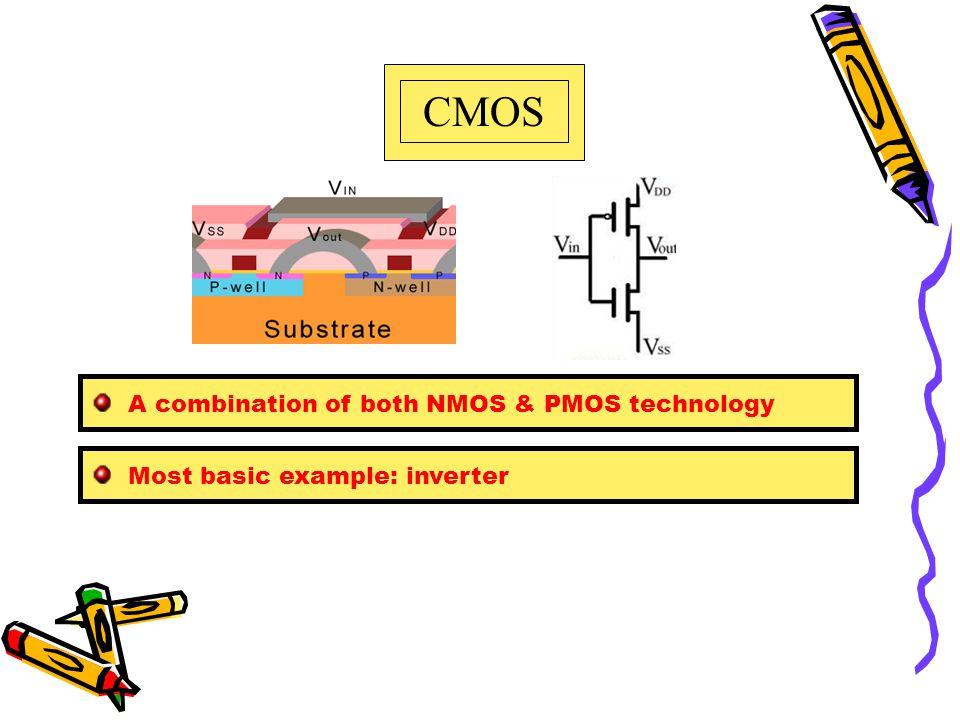 CMOS A combination of both NMOS & PMOS technology