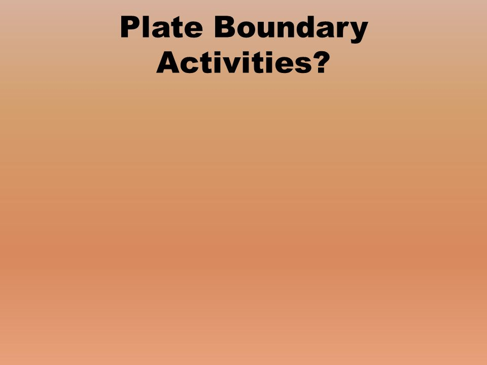 Plate Boundary Activities