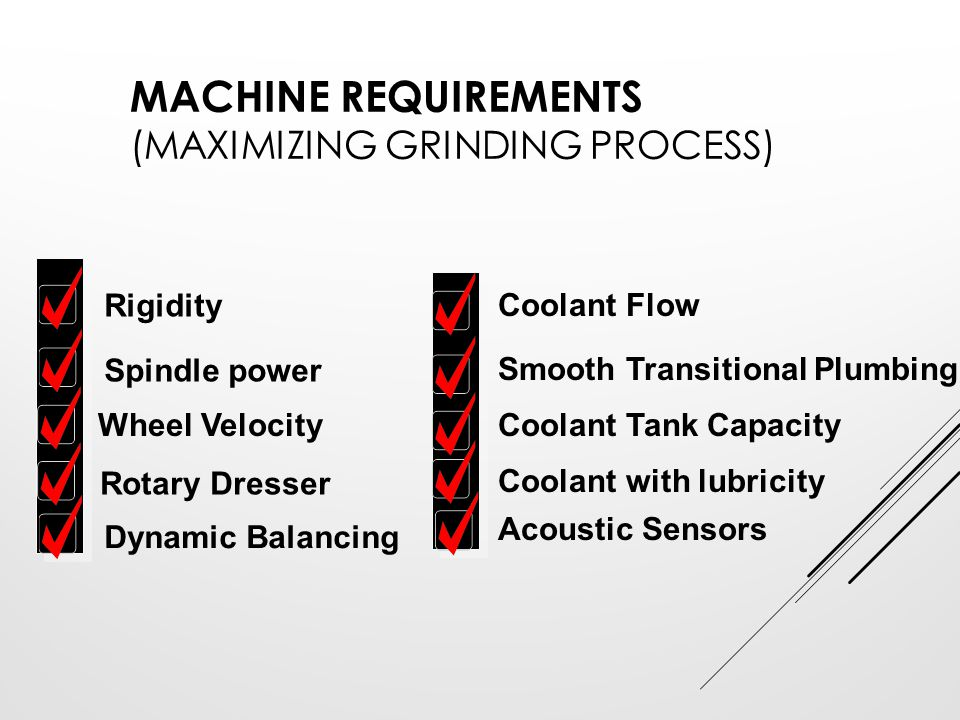 Machine Requirements (Maximizing Grinding Process)