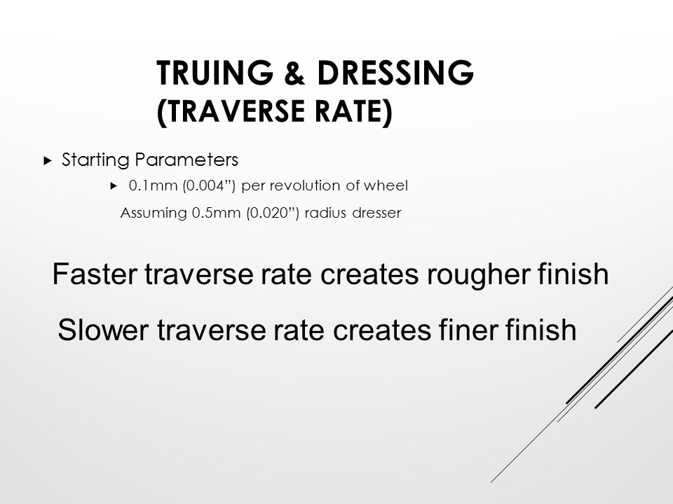 Truing & Dressing (Traverse Rate)