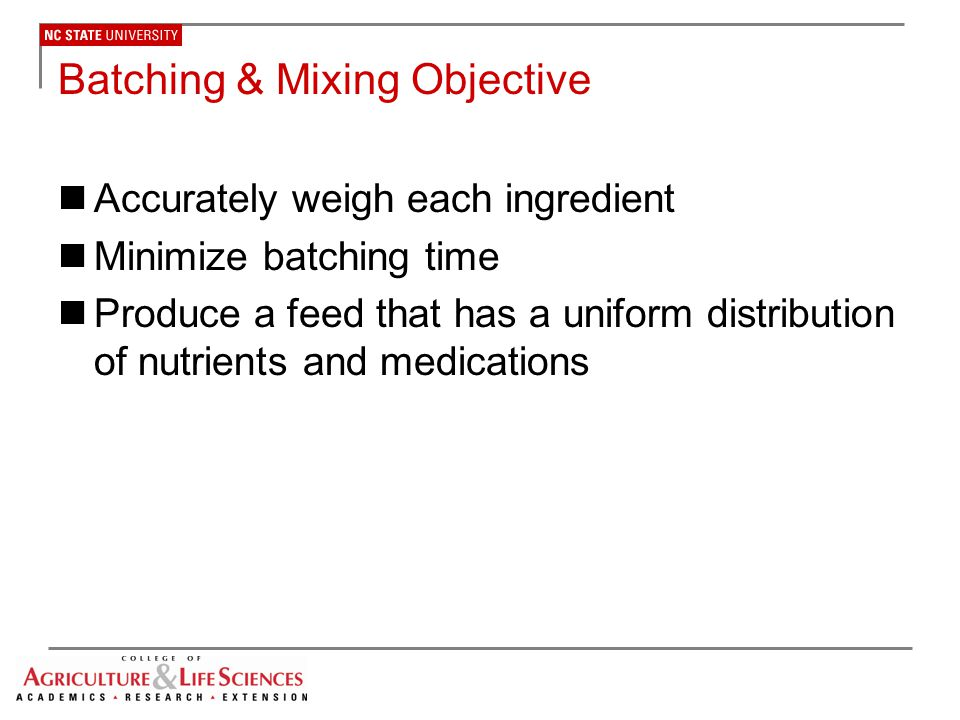 Batching & Mixing Objective