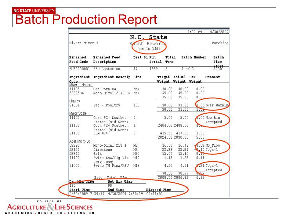Batch Production Report