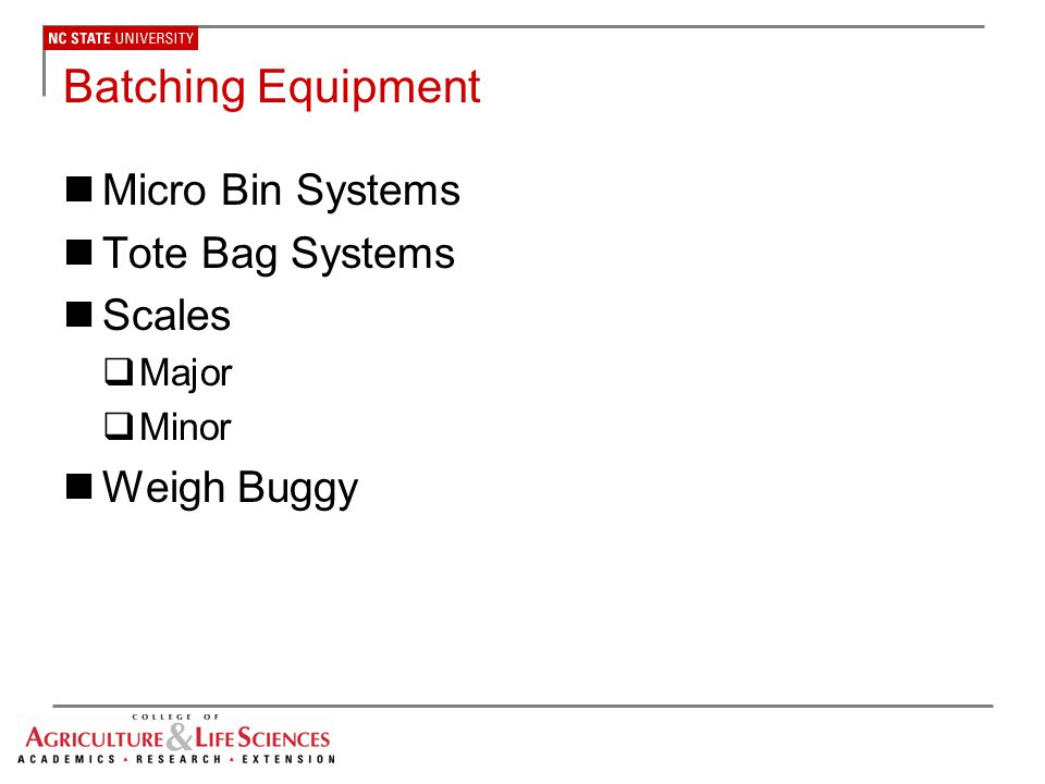 Batching Equipment Micro Bin Systems Tote Bag Systems Scales