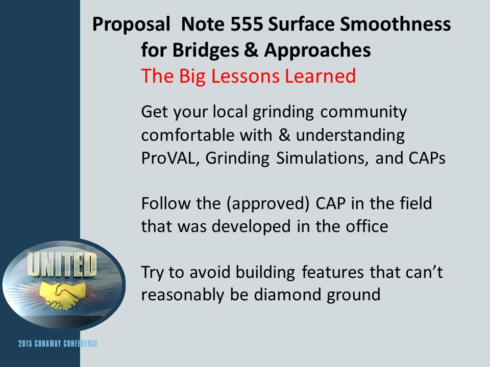 Proposal Note 555 Surface Smoothness. for Bridges & Approaches