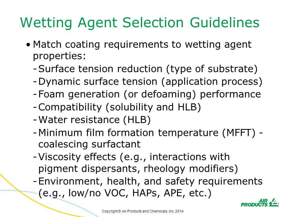 Wetting Agent Selection Guidelines