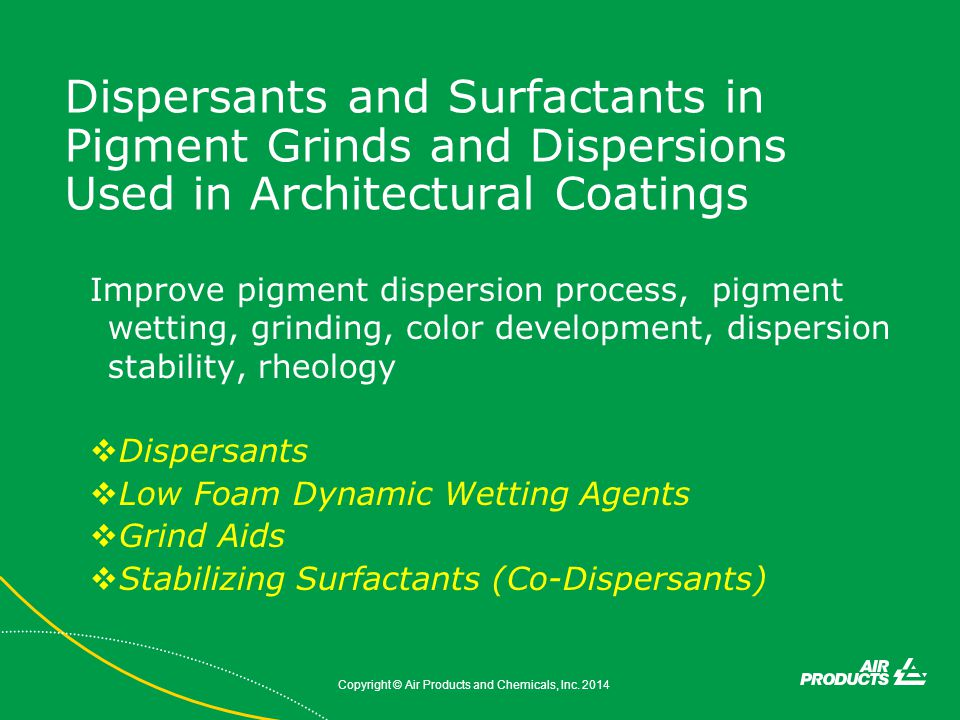 Dispersants and Surfactants in Pigment Grinds and Dispersions Used in Architectural Coatings