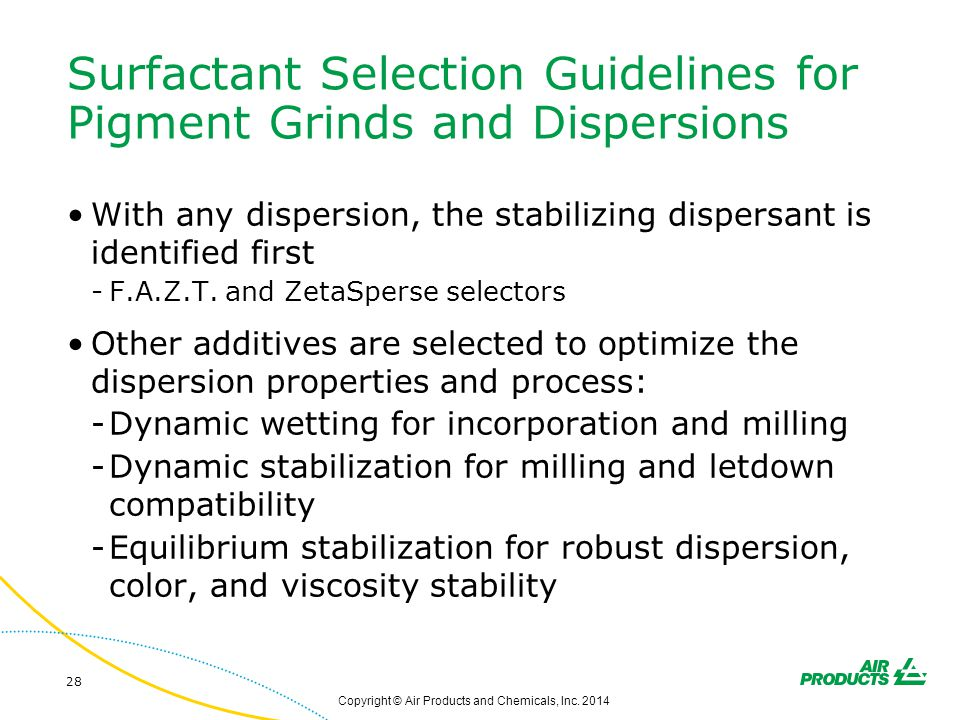 Surfactant Selection Guidelines for Pigment Grinds and Dispersions