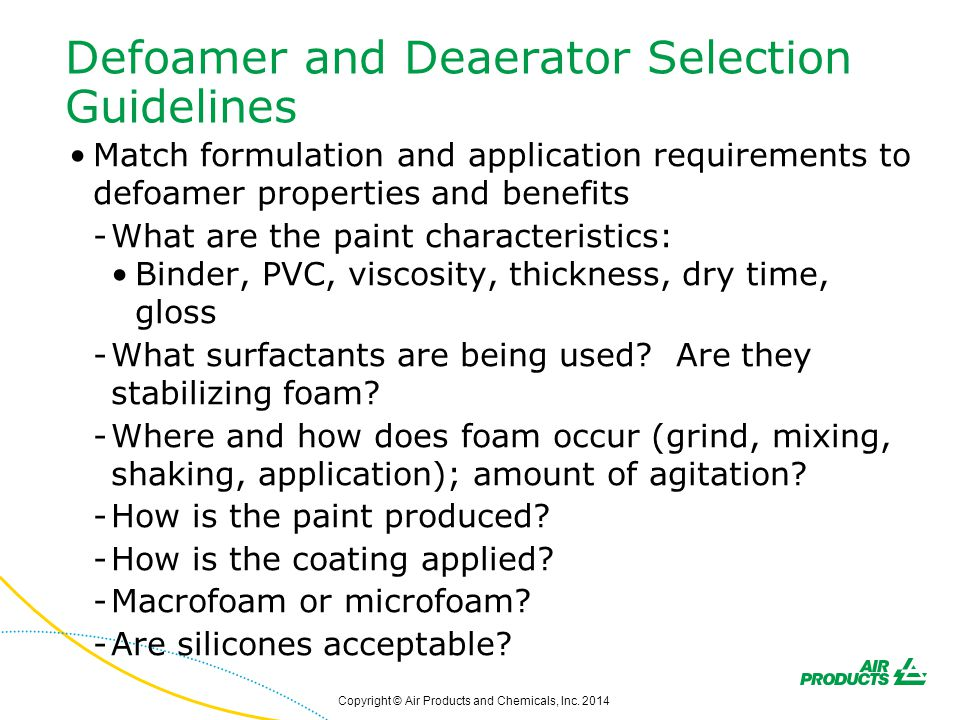 Defoamer and Deaerator Selection Guidelines